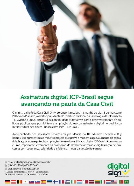 Assinatura digital ICP-Brasil segue avançando na pauta da Casa Civil