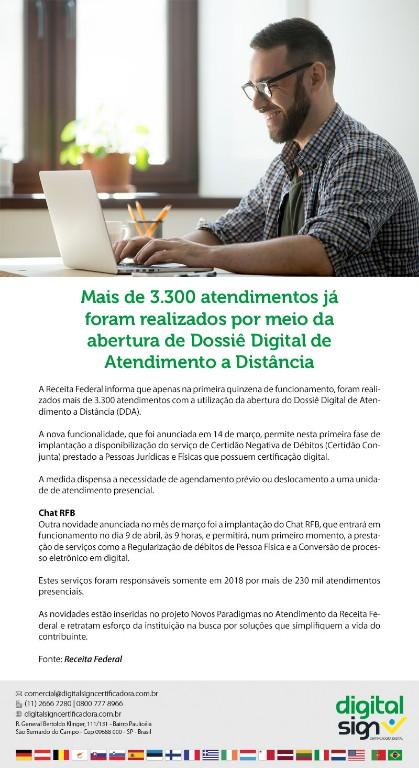 Dossiê Digital de Atendimento a Distância(DDA) - Mais de 3.300 atendimentos