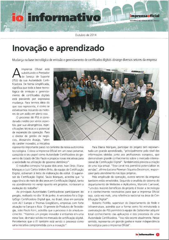 Imprensa Oficial do Estado de São Paulo : DigitalSign - Novo PSS de Certificação Digital