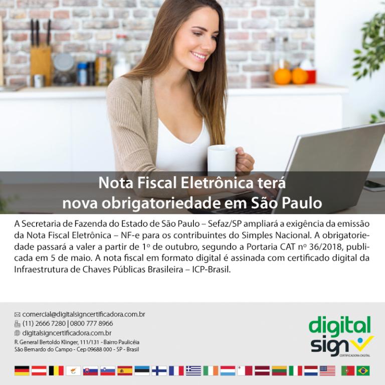 Nota Fiscal Eletrônica terá nova obrigatoriedade em São Paulo