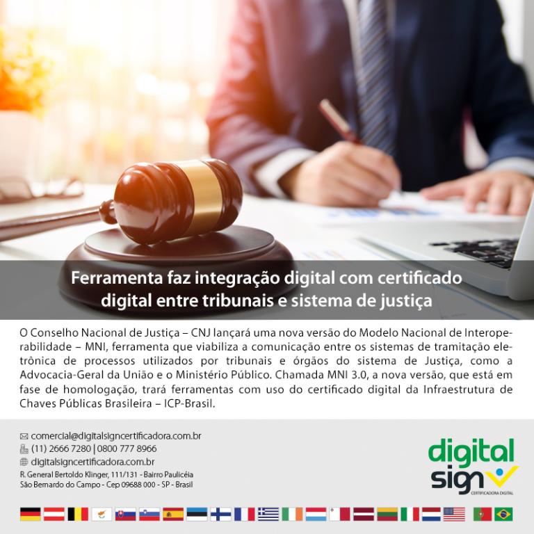 Ferramenta faz integração digital com certificado digital entre tribunais e sistema de justiça